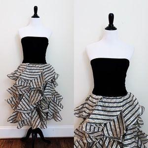 Vintage Victor Costa Ruffle Bottom Formal Dress
